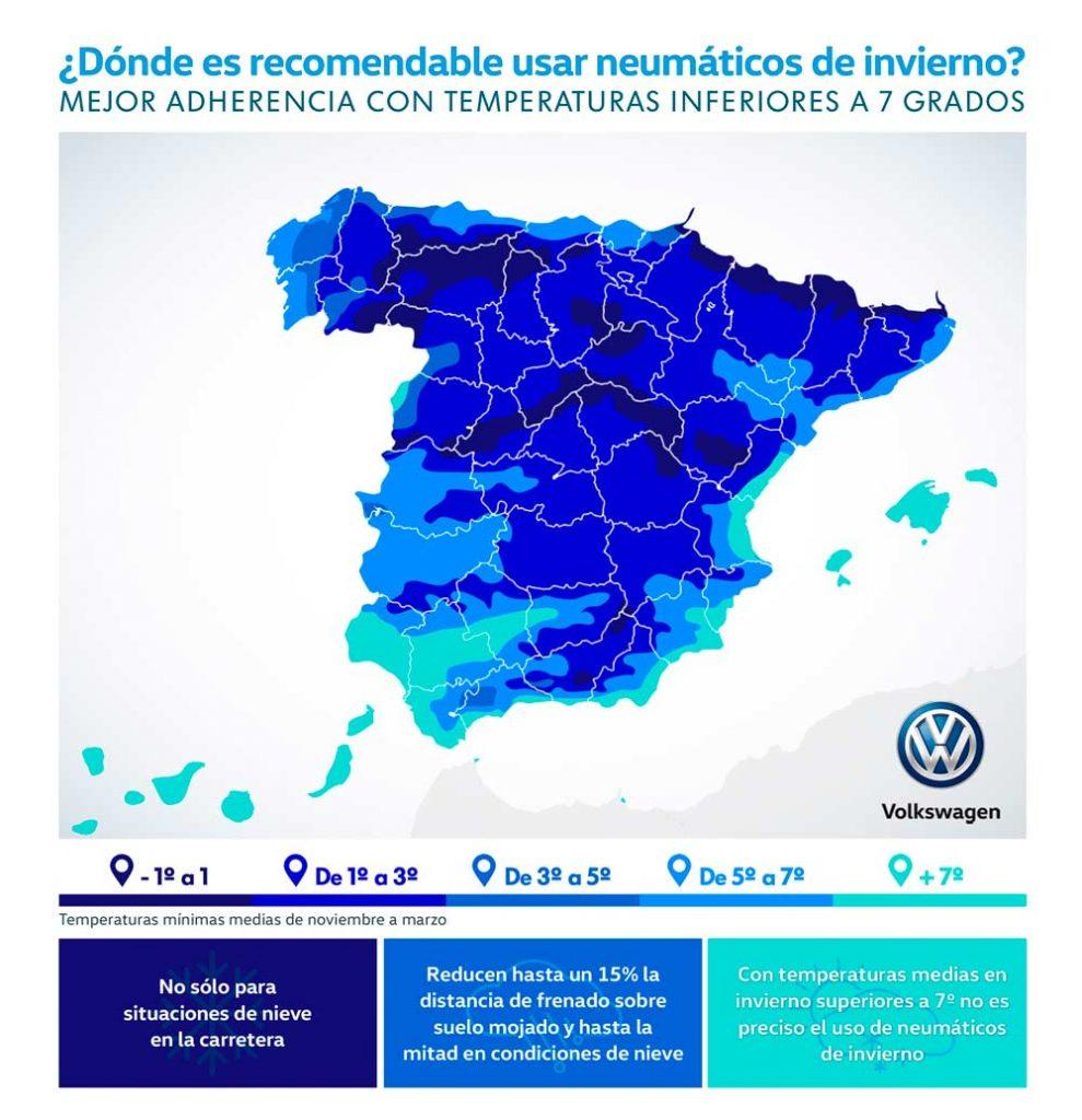Mapa Volkswagen uso de neumáticos de invierno